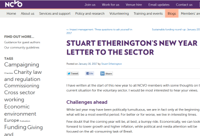 Stuart Etherington' New Year Letter To the Sector